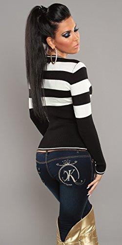 Feinstrick-Pullover mit Streifen(Schwarz/Weiß) -