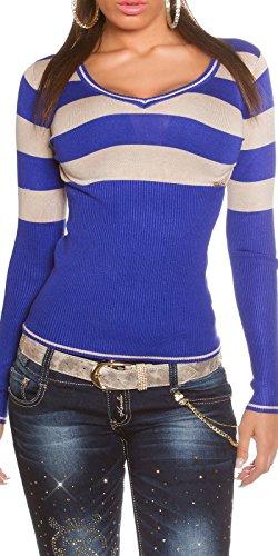 Feinstrick-Pullover mit Streifen Damen Einheits-Größe eng anliegend 34 36 38 (Einheitsgröße, Blau) -