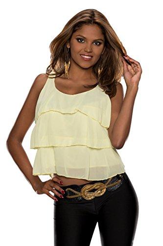 5215 Fashion4Young Damen Ärmelloses Träger-Top Chiffon Layer-Look verfügbar in 4 Farben (One Size 34 36 38, Gelb) -