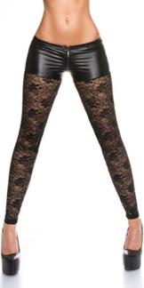 KouCla Leggings mit Spitze und Reißverschluss - Wetlook Pants Leggings mit Zip in versch. Farben S/M und M/L (LE50575C) (M-L, 2 Schwarz) -