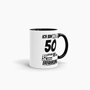 Geburtstags-Tasse Ich Bin 50 mit 32 Jahren Erfahrung Innen & Henkel Schwarz/Geburtstags-Geschenk/Geschenkidee/Scherzartikel/Lustig/mit Spruch/Witzig/Spaß/Fun/Kaffeetasse/Mug - 3
