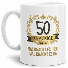 """Tassendruck Geburtstags-Tasse Knackige 50"""" Geburtstags-Geschenk Zum 50. Geburtstag/Geschenkidee/Scherzartikel/Lustig/Witzig/Spaß/Fun/Mug/Cup Qualität - 25 Jahre Erfahrung - 1"""