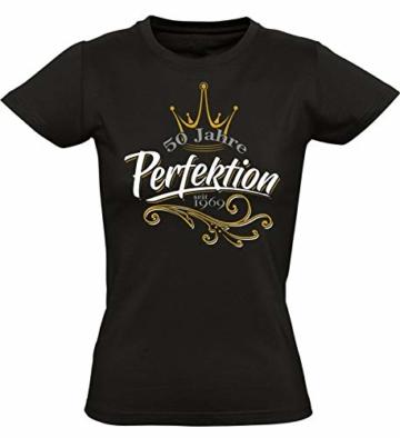 Geburtstags Shirt: 50 Jahre Perfektion - Jahrgang 1969 - Fünfzigster Geburtstag T-Shirt - Geschenk zum 50. - Damen - Frau - Frauen - Freundin - Birthday - Lustig - Witzig - Fun - Tailliert - 1