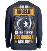 Shirtee Bin am Angeln Bier Bringen! Abflug! - B - Unisex Pullover - 1