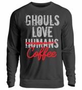 Shirtee Ghouls Love (Humans) Coffee - Anime - Manga - Geschenk - Games - Cosplay - Gift - Unisex Pullover -L-Jet Schwarz - 1