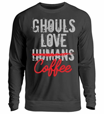 Shirtee Ghouls Love (Humans) Coffee - Anime - Manga - Geschenk - Games - Cosplay - Gift - Unisex Pullover -L-Jet Schwarz - 1