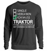 Shirtee Traktor, Bauer, Landwirt, Landwirtschaft, Bäuerin, Traktor, Fendt, Trekker, Bauernhof, Unisex Pullover -M-Jet Schwarz - 1