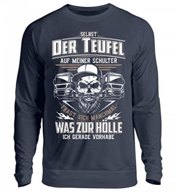 Shirtee Trucker LKW-Fahrer Fernfahrer Teufel Brummifahrer Geschenk - Unisex Pullover - 2