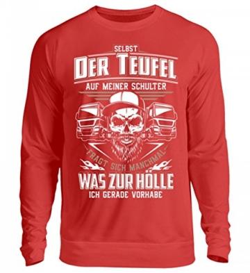 Shirtee Trucker LKW-Fahrer Fernfahrer Teufel Brummifahrer Geschenk - Unisex Pullover - 3