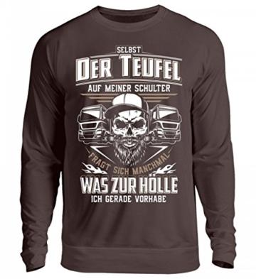 Shirtee Trucker LKW-Fahrer Fernfahrer Teufel Brummifahrer Geschenk - Unisex Pullover - 4