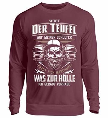 Shirtee Trucker LKW-Fahrer Fernfahrer Teufel Brummifahrer Geschenk - Unisex Pullover - 1