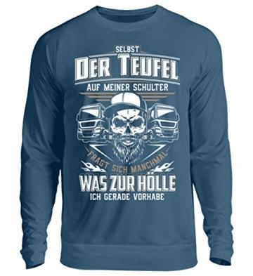 Shirtee Trucker LKW-Fahrer Fernfahrer Teufel Brummifahrer Geschenk - Unisex Pullover - 5