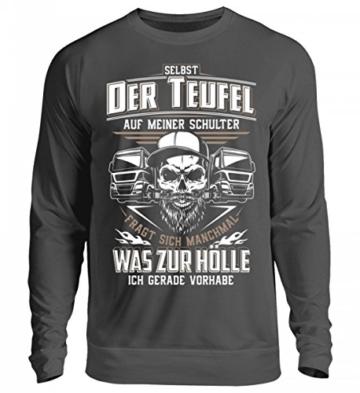 Shirtee Trucker LKW-Fahrer Fernfahrer Teufel Brummifahrer Geschenk - Unisex Pullover - 6