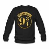 Spreadshirt Harry Potter Platform 9 3/4 Gold Männer Pullover - 1