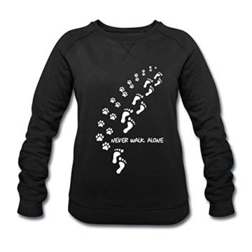 Spreadshirt Never Walk Alone Hund Pfotenabdrücke Fussabdrücke Frauen Bio-Sweatshirt von Stanley & Stella - 1