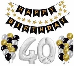 40 Geburtstag Dekoration Set, Deko Geburtstag, Geburtstagsdeko, Happy Birthday Dekoration. Zahlen Luftballons Silber XXL + 24 Große Geperlte Ballons + 1 Happy Birthday Banner (40) - 1