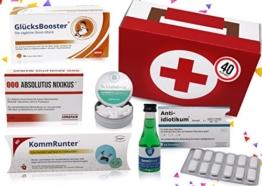 40. Geburtstag | Erste Hilfe Set Geschenk-Box, witziger Sanikasten | 8-teilig | Spaßgeschenk zum 40. Geburtstag - 1
