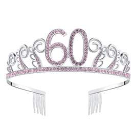 BABEYOND Kristall Geburtstag Tiara Birthday Crown Prinzessin Geburtstag Krone Haar-Zusätze Silber Diamante Glücklicher 18/20/21/30/40/50/60 Geburtstag (60 Jahre alt Rosa) - 1