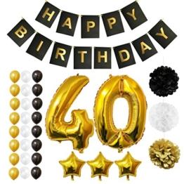 BELLE VOUS Luftballons Happy Birthday Banner Party Zubehör Set & Dekorationen Folienballons Geburtstag - Gold, Weiß & Schwarz Latex-Ballon-Dekoration - Dekor für alle Erwachsenen geeignet (Age 40) - 1