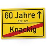 DankeDir! 60 Jahre (Knackig) Kunststoff Schild - Ortssschild, Geschenk 60. Geburtstag Bester Freund/Freundin, Geschenkidee Geburtstagsgeschenk 60ten Geschenk 60er Geburtstagsparty - 1