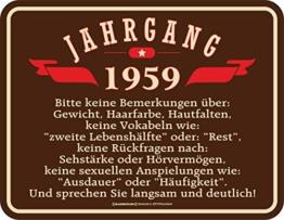 RAHMENLOS Deko Blechschild zum 60. Geburtstag Jahrgang 1959 - 1
