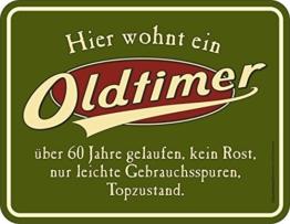 RAHMENLOS Original Blechschild zum 60. Geburtstag: Oldtimer, 60 Jahre gelaufen, Topzustand. - 1